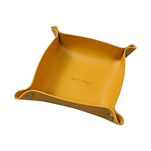 Aidou Bandeja de cuero organizador de escritorio de cuero nórdico caja de almacenamiento práctica caja de almacenamiento carteras estilo nórdico