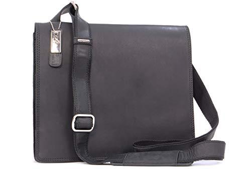 VISCONTI - Leder - Laptop-Tasche - Umhängetasche im Jägerstil/JÄGERTASCHE - Harvard - (16025) - Öl Schwarz