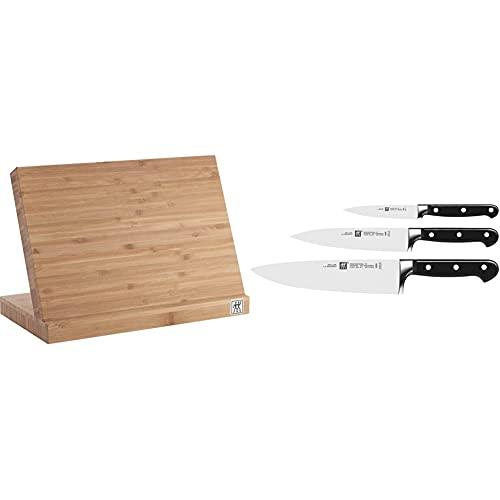 Zwilling 35046-110-0 Messerblock, Holz & Messer-Set, 3-tlg., Spick-/Garniermesser, Fleischmesser, Kochmesser, Rostfreier Spezialstahl/Kunststoff-Griff, Professional S
