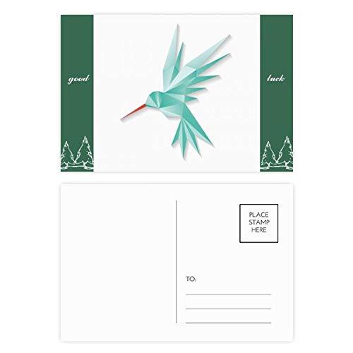 Geometrische Abstrakte Vogel-Origami-Muster, Glücksbringer-Postkarten-Set, Karten, Versandseite 20 Stück