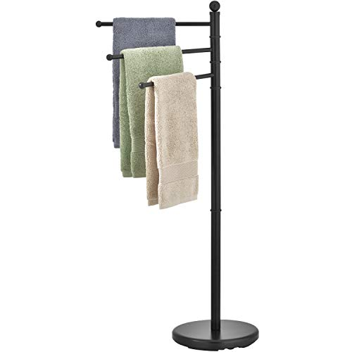 MyGift 40-inch Modern Freestanding Matte Black Bathroom Towel Hanging Rack Stand with 3 Swivel Bar Arms