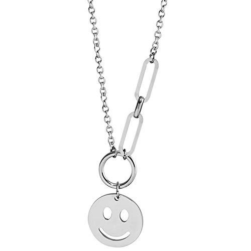 Halskette Smiley Anhänger Silber Emoji Happy Anhänger Stern Dicke Kette und Edelstahl Mode Schmuck Geschenk (Smile1)