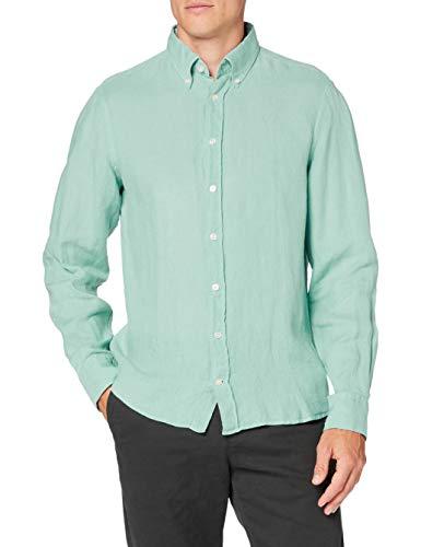 Hackett London Garment Dye Ln BS Camisa, Azul (5MKLT AQUA 5MK), 44 (Talla del fabricante: X-Large) para Hombre