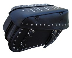 Check Out This Black Leather Motorcycle Saddlebags Steel and ABS Reinforced with Quick Release Buckl...