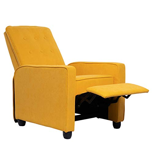 Polar Aurora Mid-Century Modern Push Back Recliner Chair Fabric Accent Arm Chair Ergonomic Lounge for Living Room(Muted Yellow)