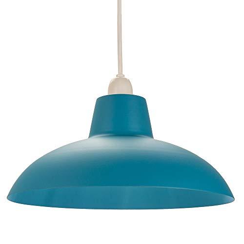 Industriële retro ontworpen mat groenblauw gebogen metalen plafond hanglamp schaduw