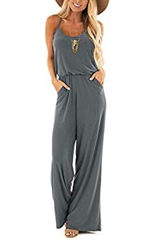 Womens Casual Loose V Neck Sleeveless Spaghetti Strap Wide Leg Pants Romper Jumpsuits Deep Gray Medium