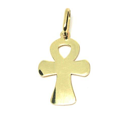 Colgante de oro amarillo 750 18 K, cruz de la vida, Ankh, lastrado, fabricado en Italia
