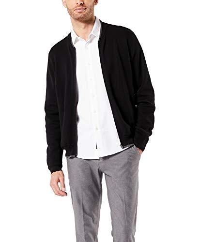 Dockers Men's Long Sleeve Full Zip Sweater, Mineral Black Fleece (Legacy), Medium