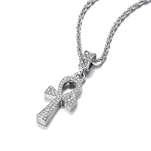 Cross Alloy Pendant For Men Silver Colorful Key Of Life Egyptian Charm Necklace Hip Hop Jewelry Iced Out Crystal Ankh Bling Bling - Silver Plated