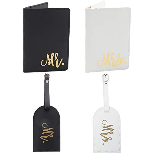 miuse Set of 2 Mr & Mrs Black and White Passport Holders Honeymoon as a Gift for Couple Just Married Gift for The Bride and Groom