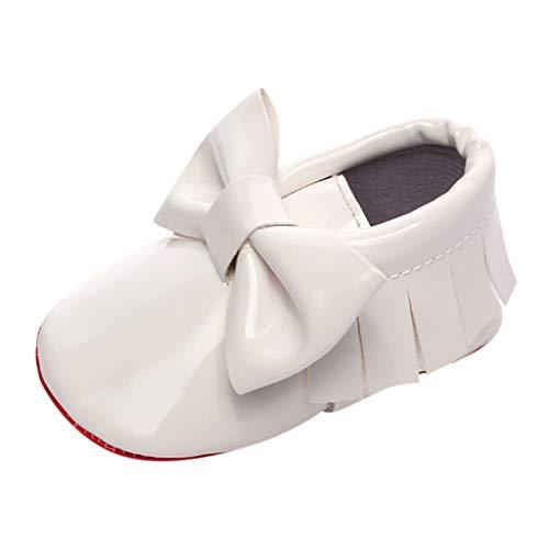 Alwayswin Baby Mädchen Lauflernschuhe Neugeborene Erste Wanderer Schuhe Leder Einzelne Schuhe Bogen Freizeitschuhe Lederschuhe Kurze Stiefel rutschfeste Slip-On Slipper Loafers