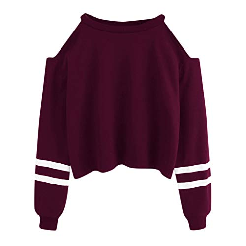 YEBIRAL Pullover Damen Bauchfrei, Teenager Mädchen Gestreifte Pulli Langarmshirt Schulterfrei Kurz Crop Tops Oberteile Shirt Sweatshirt (Violett, S)