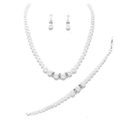 Schmuckanthony Set gioielli da sposa con orecchini, bracciale e collana, perle bianche con cristalli, placcato argento