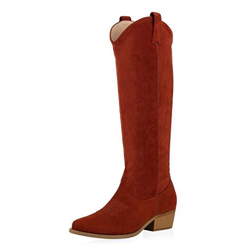 SCARPE VITA Damen Stiefel Cowboystiefel Wildleder-Optik Western Schuhe Cowboy Boots Stickereien Holzoptikabsatz Westernstiefel 187135 Dunkelorange 36