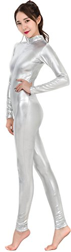 Speerie Womens Shiny Metallic Lycar Spandex Zip Up Catsuit Unitard, Sliver, M
