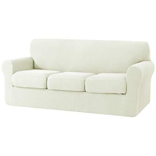 Subrtex Funda de sofá de 3 plazas con 3 Fundas de cojín separadas, Funda elástica de Repuesto Antideslizante para Muebles (sofá, Blanco)