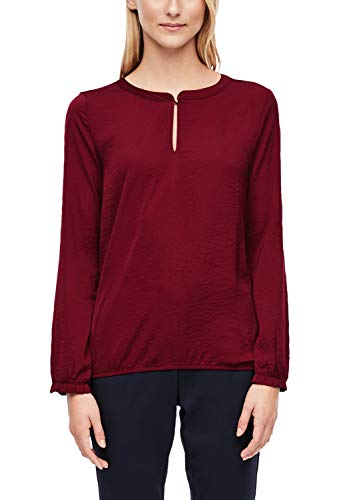 s.Oliver RED Label Damen Fabric-Mix-Bluse mit Rüschen-Detail Burgundy 38