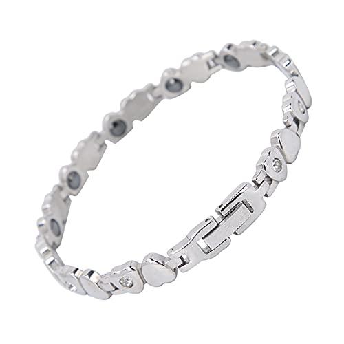 Pulsera magnética para mujer, alivio del dolor de artritis, acero de titanio, pulsera de terapia magnética, pulsera elegante, regalo (plata)