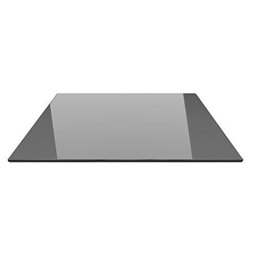 Quadrat 110x110cm Glas schwarz - Funkenschutzplatte Kaminbodenplatte Glasplatte f. Kaminofen (Schwarz Q110x110cm - ohne Silikon-Dichtung)