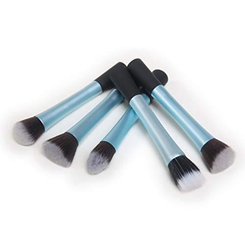 Ensemble de brosse de maquillage, 5 long tube en aluminium petite taille beauté maquillage outil maquillage ensemble brosse beauté maquillage brosse,blue