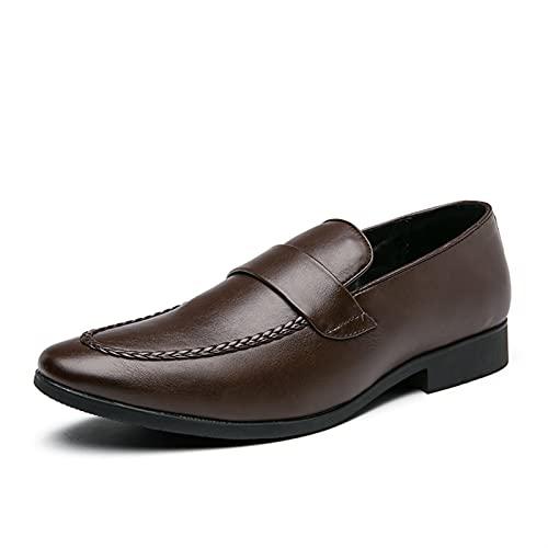 DIYHM Penny Penny Penny Penny Loafer PU de cuero del delantal de la PU Slip on Style Shoes Block Taconed Herpetamina costura Unánime Color (Color : Brown, Tamaño : 42 EU)
