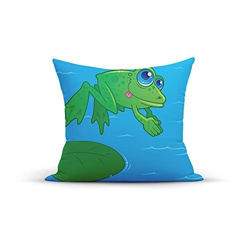 Divertida imagen de río de estilo de dibujos animados con animales de buceo de una hoja, fundas de cojín decorativas para dormitorio, sofá, sala de estar, 45,7 x 45,7 cm