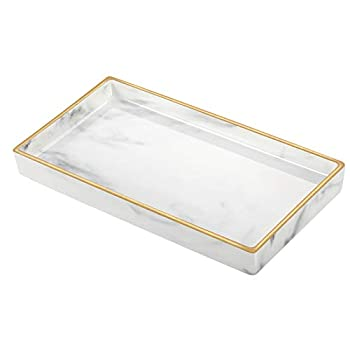Lewondr Ceramic Vanity Tray Marble Pattern Tray Bathtub Toilet Tank Bathroom Tray Jewelry Storage Dresser Tray with Gilt Edging for Candle Lotion Bottle Jewelry Cosmetics Perfume Small Size