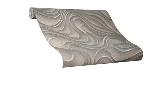Tapete Gold Welle Geschwungen Linien Ovale Colani Evolution für Wohnzimmer Schlafzimmer oder Küche Made in Germany 10,05m X 0,70m Premium Vliestapete 56322