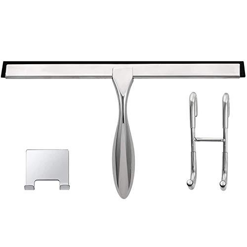 Cobeky Juego de rasqueta de ducha de 30,5 cm, incluye gancho para puerta de ducha y gancho adhesivo, rasqueta para puerta de cristal de ducha