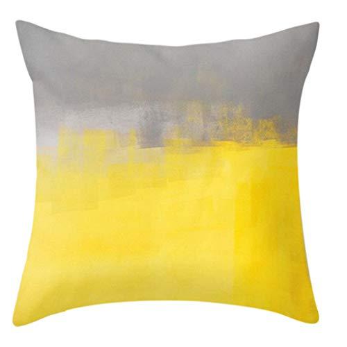 gszfsm001 - Funda de cojín (45 x 45 cm), diseño nórdico, color amarillo