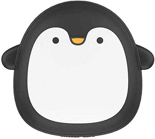 JUJ®Mini Chauffe-Main Portable USB Rechargeable Pingouin/Ours Polaire Batterie Externe Double Face Chauffage Rapide Noir-Noir