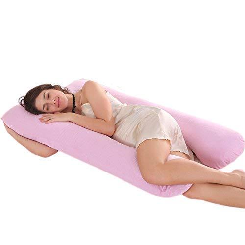 Ducomi BabyLuna - Cojín para Lactancia y Embarazo con Forro Doble - 100% Algodón Orgánico Lavable - Almohada de Maternidad Ergonómica para Mujeres y Bebes - Máxima Comodidad (Rosa)
