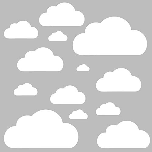 13 Wolken Set - Wolke Wandtattoo Wandaufkleber Sticker Aufkleber Wölkchen Himmel (Weiss)