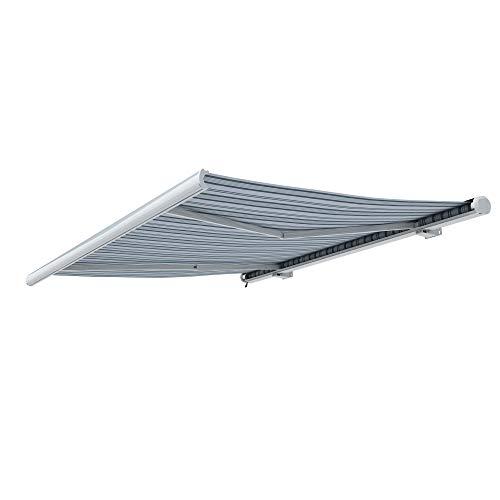 paramondo Kassettenmarkise Curve mit Motor, 3,5 x 3 m, Gestell: weiß, Stoff: Multi, weiß-grau