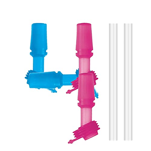 VOSOE Kids Bite Valves fit CamelBak Eddy Kids Water Bottle (2 Blue 2 Pink with 2 Straws, with 2 Straws)