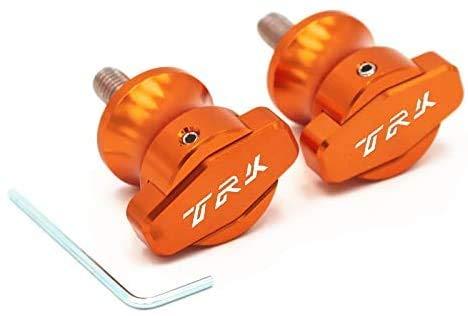 ASDZ Practical Motorbike Accessories TRK Logo Screws M6 Motorcycle Swingarm Spools Slider for Benelli TRK502 TRK 502 Jinpeng 502 2016 2017 (Color : Orange)