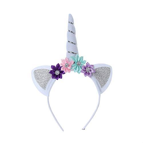 Hacoly Einhorn Haarreifen Halloween Horn Kopfschmuck Karnevalskostüme Zubehör Haarreif Horn Cosplay Haarspange für Kinder Perfektes Feriengeschenk - Silber