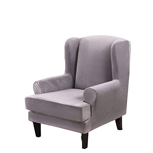 Samt Ohrensessel Schonbezug, Weich Ohrensessel Überzug Bezug Abnehmbarer Waschbarer Sesselbezug Husse Für Ohrensessel Mit Elastischem Boden Für Wohnzimmer-Silber grau-Ohrensessel
