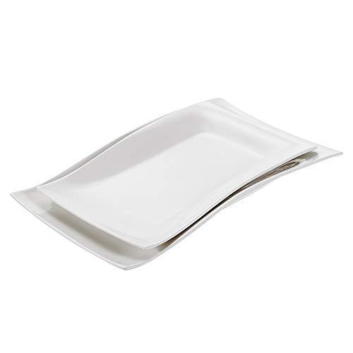 Vancasso Lolita 2-teilig Porzellan Platten in 2 Größe, Rechteckiger Teller, Große Servierplatte