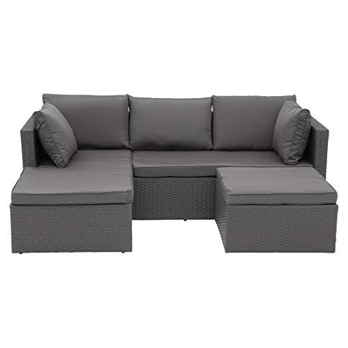 OUTLIV. Variable Loungeecke Aluminium/Polyrattan Geflecht inklusive Polster aus Polyester Sitzecke, Outdoorgruppe in Grau