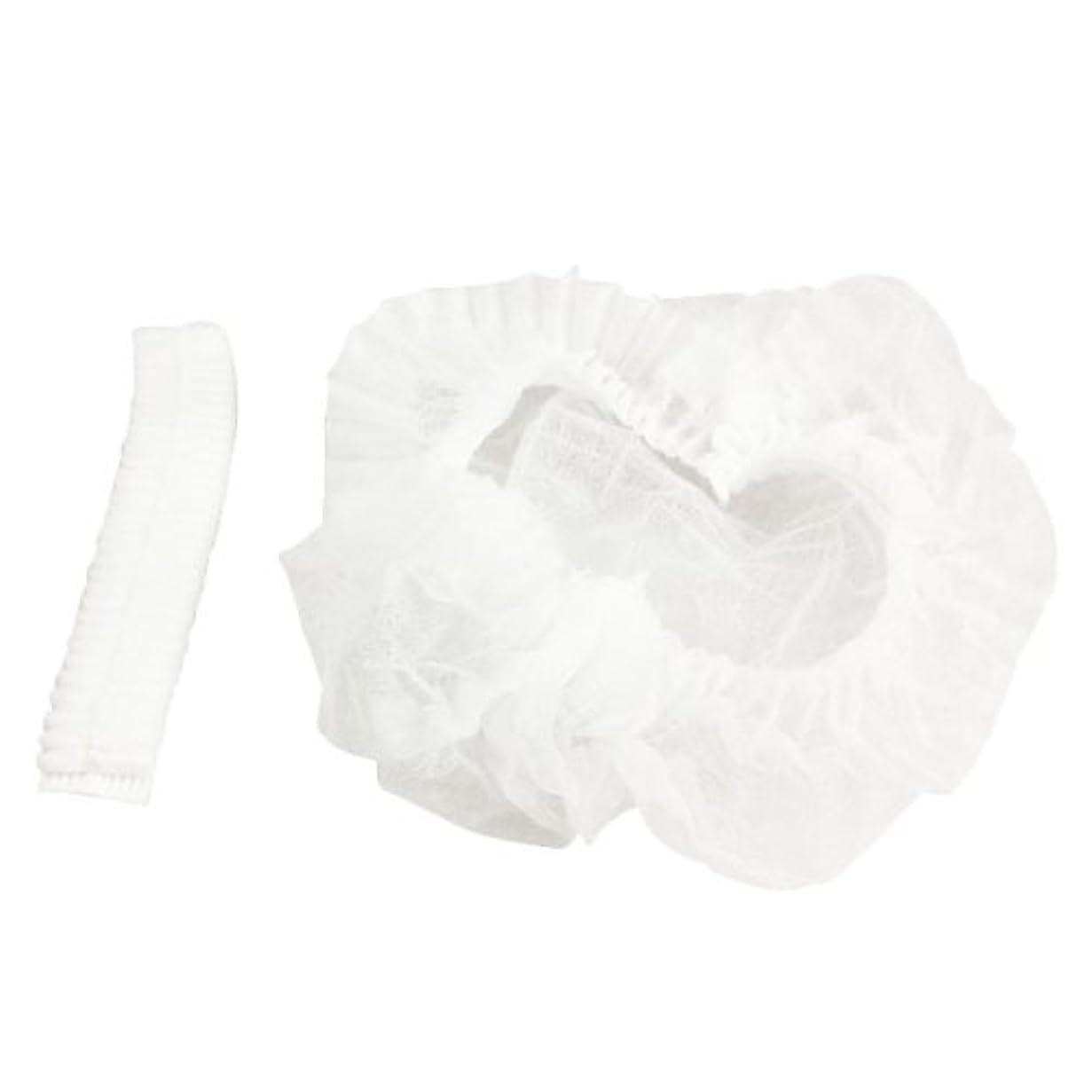 永久伝染病十不織布シャワーキャップ シャワーキャップ 不織布キャップ 使い捨て フリーサイズ 調理帽子ネット 使い捨て帽子 100PCS 食品サービス、病院、研究所、製造業 白 Amiu