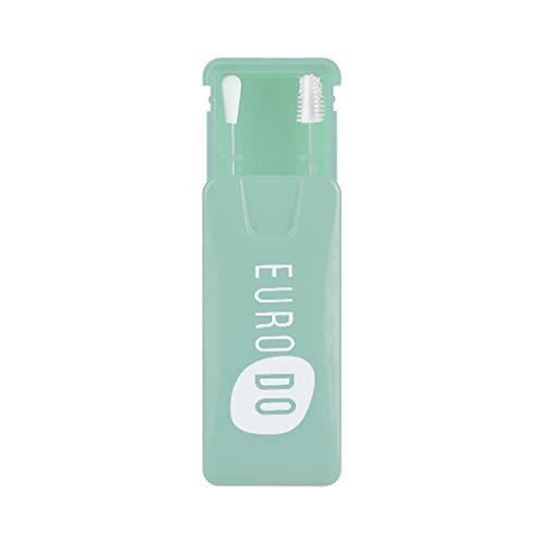 EURODO Wiederverwendbarer Wattestäbchen - 1 Aufbewahrungsbox mit 2 Doppelseitigen Ohrenstäbchen - Umweltfreundlichen Silikon-Baumwollknospen - Ohrreinigungsstifte Kosmetikknospe (Türkis)