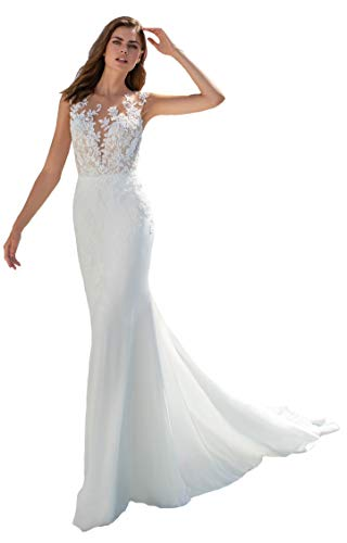 Women's Long Mermaid Beach Wedding Dresses Floor Length Sleeveless Wedding Dresses Ivory06