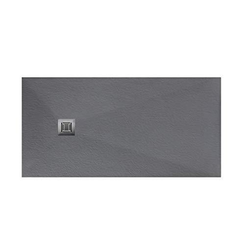 Plato de ducha rectangular de 120 x 80 x 3 centímetros, con válvula de desagüe, colección Suite N, color hormigón (Referencia: 6348228)