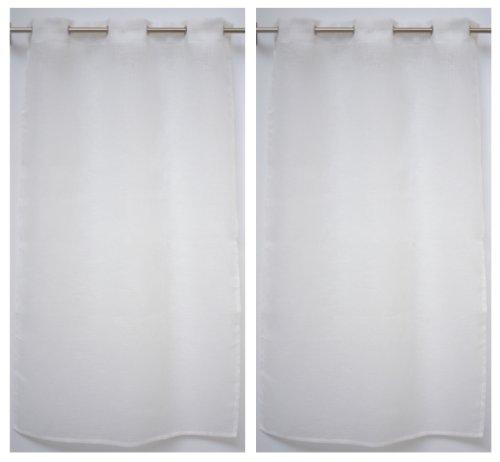 Linder 0169/11/475RI - Coppia di Tende dritte Kaolin, con Occhielli, 50% Poliestere, 50% Lino, Bianco, 55x90