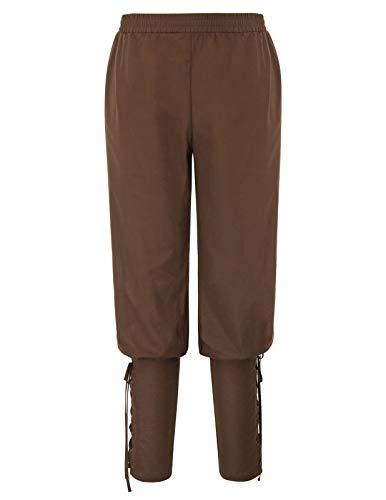SCARLET DARKNESS Männer Gothic Ankle Pants Piraten Kostüm Viking Navigator Hosen Kaffee Größe XXL