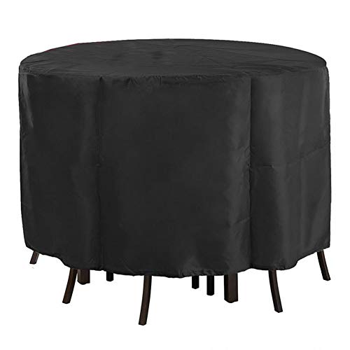 NINGWXQ Covers for Tuinmeubelen, Round Table Covers Waterproof Dust-proof Large Patio Set Cover, 2 kleuren, 30 Size (Color : Black, Size : 250x110cm)