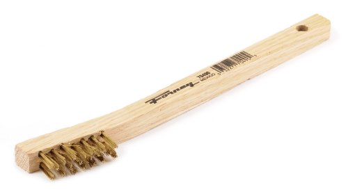 Forney 70490 Wire Scratch Brush, Brass with Wood Handle, 7-3/4-Inch-by-.006-Inch