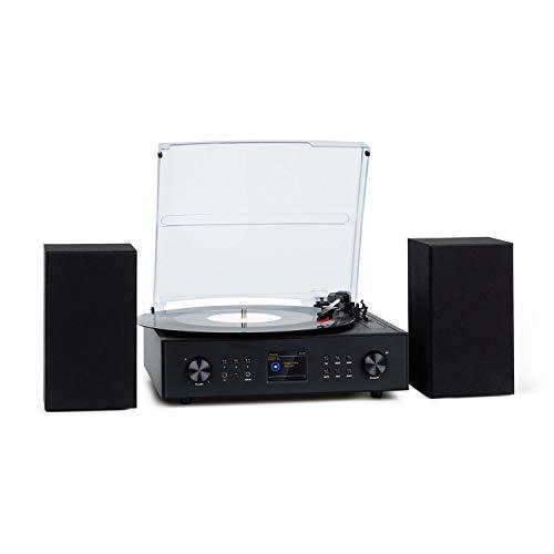 auna Connect Vinyl Plattenspieler, Internetradio, DAB/DAB+, Ausgangsleistung: 40 Wmax., Stereo: inkl. 2 Lautsprechern, SmartRadio, Plattenspieler: 33 / 45 / 78, Bluetooth, schwarz